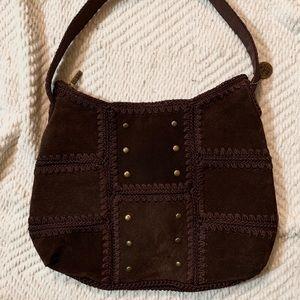 🆕😍The SAK Vintage Brown Suede Crochet Boho Hobo